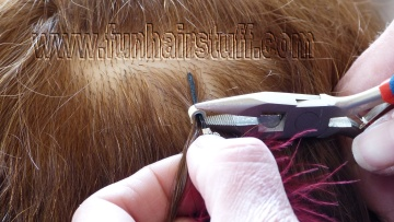 Fit a feather hair extension now use the pliers to firmly squash the micro ring or crimp bead onto the hair and the extension give the extension a gentle tug to make sure it is firmly pmusecretfo Gallery